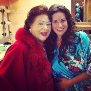 Joyce with Virginia Zeani in her dressing room after La Traviata.